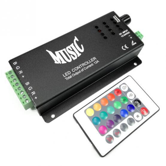 MUSIC LED CONTROLLER WITH REMOTE CONTROLLER 18A 12VDC